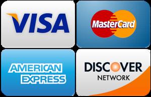 Visa, MasterCard, American Express, Discover credit card logos
